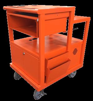 orange heavy duty mobile cart by SBS