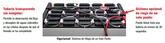 opcional sistema de reigo de un solo punto para baterias industriales