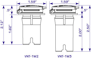 WaterWise battery watering cap dimensions and drawing