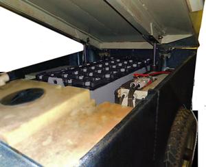 battery inside an ice resurfacing machine