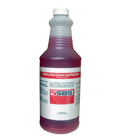 bottle of battery cleaner and acid neutralizer