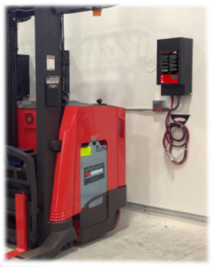 forklift with SBS Micro Smart RHF battery charger