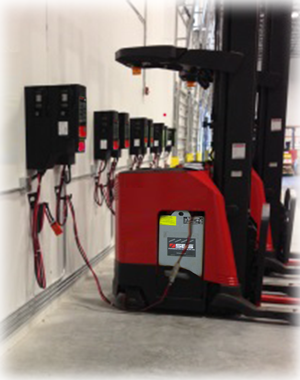 forklifts with SBS Micro Smart high frequency battery chargers