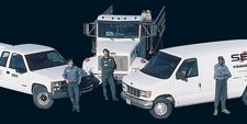 SBS workers and field service trucks