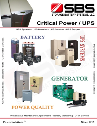 Critical power UPS catalog cover