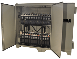3 door battery cabinet with battery racking and stationary batteries