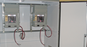 battery cabinet with chargers and DC cables