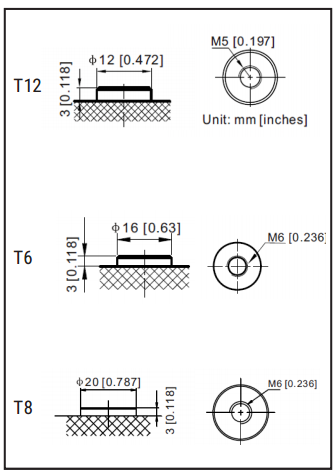 battery terminal illustration T12, T6 and T8