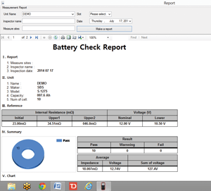 battery internal resistance software reporting