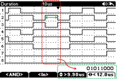 screenshot of SBS-700 oscilloscope with logic analyzer: duration trigger