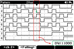 Oscilloscope logic analyzer with screenshot pattern trigger